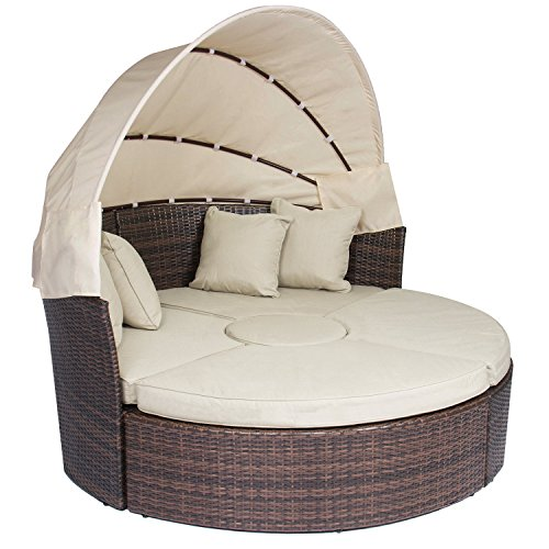 Odaof Outdoor Wicker Rattan Daybeds Patio Chaise Lounge Furniture W/Canopy Ottoman Sand Cushions - Daybed Chaise