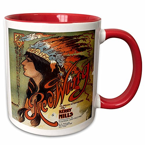 - 3dRose BLN Vintage Song Sheet Covers Reproductions - Ogalalla Indian Love Song, Native American Woman and Cowboy on Horses - 15oz Two-Tone Red Mug (mug_169969_10)
