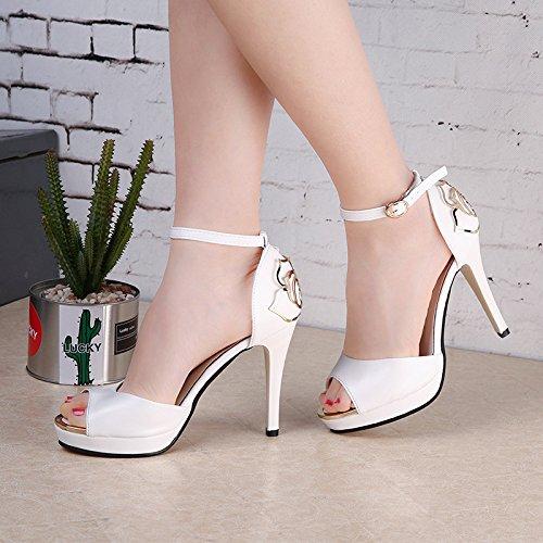 De Blancas De Para Corea Casuales De Verano De MUYII Sandalias Pescado Zapatos De Mujer Zapatos Tacón Nuevas White Alto Boca AYxpnnZgqP