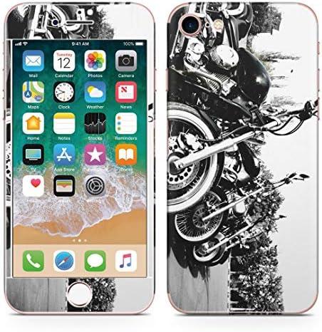 igsticker iPhone SE 2020 iPhone8 iPhone7 専用 スキンシール 全面スキンシール フル 背面 側面 正面 液晶 ステッカー 保護シール 008687 写真・風景 写真 バイク モノクロ 白黒