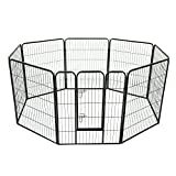 PawHut 8 Panel Heavy Duty Indoor Outdoor Pet Playpen Exercise Pen Black (40inch - Height)