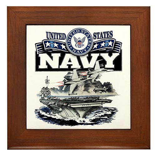 Framed Tile US Navy Aircraft Carrier and Jets