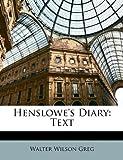 Henslowe's Diary, Walter Wilson Greg, 1147339112