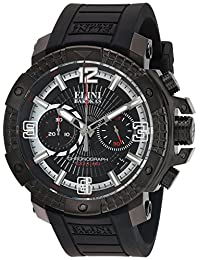 Elini Barokas Men's 'Arena' Swiss Quartz Stainless Steel and Silicone Automatic Watch, Color:Black (Model: 20033-BB-01)