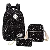 Teenagers Canvas Backpack Girls School Bags Set, Bookbags + Shoulder Bag + Pouch 3 in 1 (Black)