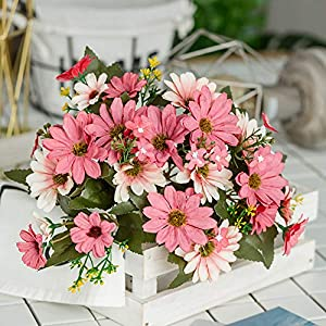 ywbtuechars Handmade Artificial Flower Fake Daisy Gerbera Artificial Flower Bud Cloth Flower Small Daisy Flower Home Living Room Table Vase Decoration Flower 1Pc 9 Branches 5