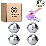 MOMENTY NEW DIY Metal Bath Bombs Molds Kits and Supplies, Homemade Round Sphere Shapes Fizzy Bombs, for Crafting Your Own Fizzles,8Pcs, by