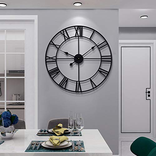 Large Modern Metal Wall Clocks Rustic Round Silent Non Ticking Battery Operated Black Roman Numerals Clock for Living…
