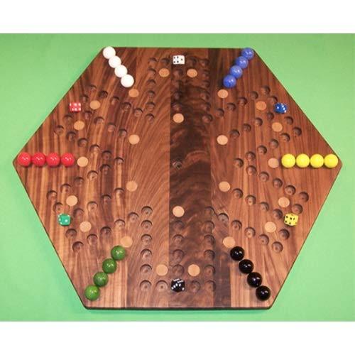 【高知インター店】 パズルマンのおもちゃ W-1938.3 W-1938.3 20インチ 六角形の彫刻 6つの穴 木製大理石ゲームボード 24個の樺の散りばめられたスポット付き ブラックウォールナット 油絵 油絵 6つのプレーヤー 6つの穴 B07HKGGYQW, サイタマ市:ff7bada3 --- a0267596.xsph.ru