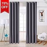 TEKAMON Thermal Insulated Blackout Room Darkening Grommet Curtains for Living Room/Bedroom (2 Panels, W52 X L84 Inches,Dark Grey)