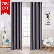 TEKAMON Thermal Insulated Blackout Room Darkening Grommet Curtains for Living Room/Bedroom (2 Panels, W52 X L63 Inches,Dark Grey)