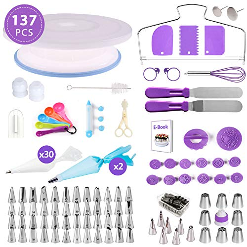 - 137 PCS Russian Cake Decorating Supplies Kit, Baking Pastry Tools, Piping tips and Bags, Non-stick Cake Turntable, Cake Leveler, Icing Spatulas and Scrapers, Fondant Press, Measuring Spoon, Cake Pen