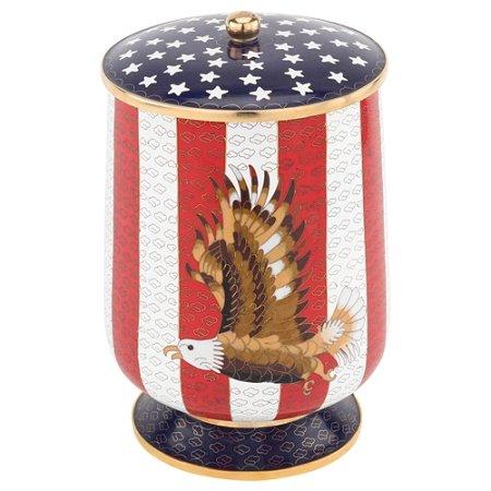 Patriotic Eagle Cloisonne Urn, Urn for a Veteran, Enameled Brass Cremation Urn for Ashes, Adult Size