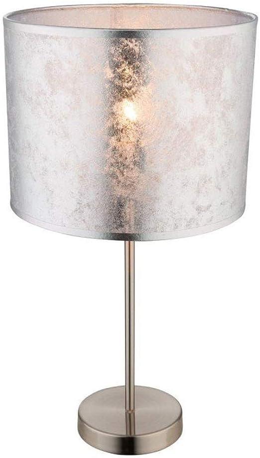 Lampada Da Tavolo Amy I Con Led Altezza 50 Cm Paralume In Tessuto Argento Marmorizzato Diametro 26 Cm Amazon It Illuminazione