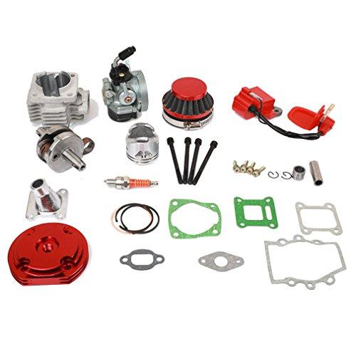 (Sanlan Cylinder Kit Carburetor Air Filter for 2 Stroke 47cc 49cc Pocket Bike Mini ATV)