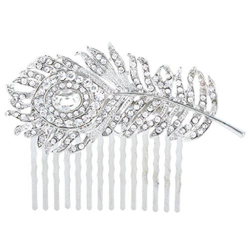 EVER FAITH Silver-Tone Austrian Crystal Wedding Peacock Feather Bridal Hair Side Comb Clear