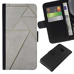 For HTC One M7 Case , Floor Design Art Wall - la tarjeta de Crédito Slots PU Funda de cuero Monedero caso cubierta de piel