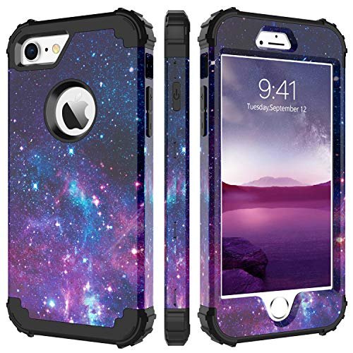 Design Hard Phone Case - iPhone 8 Case, iPhone 7 Case, BENTOBEN Heavy Duty Shockproof 3 in 1 Slim Hybrid Hard PC Soft Silicone Bumper Space Galaxy Design Protective Phone Case Cover for iPhone 8 /iPhone 7 (4.7