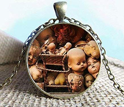 Creepy Halloween Doll Heads Pendant Necklace Jewelry, Voodoo Doll, Voodoo Necklace, Jewelry, Glass Pendant, Photo Jewelry ()