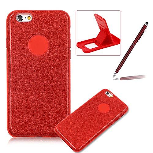 für iPhone 6S Hybrid 3 in 1 Einzigartig Hart Handyhülle, für iPhone 6 Rüstung Stoßfest Hülle, Herzzer Luxus Bling Glitzer Schutzhülle [Hard PC + Glänzende Farbe Aufkleber Innere Schicht + Weiche TPU]