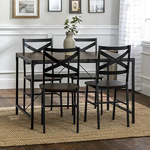 Walker Edison Furniture Company 5-Piece Angle Iron Dining Set w/X Back Chairs- Dark Walnut