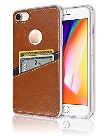 iPhone8 / 7 [Leather Back Cover] [Wallet Case] [2 Card Holder] Soft Slim Fit Hybrid Polyurethane TPU Flexible Back Bumper Slot Lightweight Shock Absorbing Protection For Apple iPhone 8 / 7 (Waterproof Ipod 4 Case Yellow)