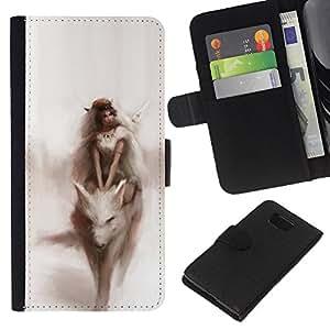 Acuarela Fairytale Sueño Mujer- la tarjeta de Crédito Slots PU Funda de cuero Monedero caso cubierta de piel Para Samsung ALPHA G850