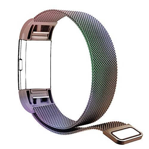 "Tecson Magnetic Bands Compatible Fitbit Charge 2, Stainless Steel Metal Milanese Replacement Bracelet Strap with Magnet Lock for Fitbit Charge 2 (Small5.5-8.7"", Colorful)"