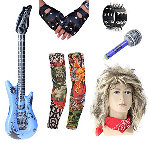 8pc Mens 80's Rocker Wig Guitar Bangle Bandana Gloves Tattoo Arm Costume Set (A) -