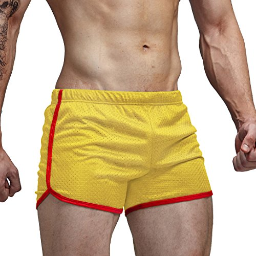 AIMPACT Mens Workout Jogging Suit Shorts Bodybuilding Shorts Yellow(AC11Yellow L)