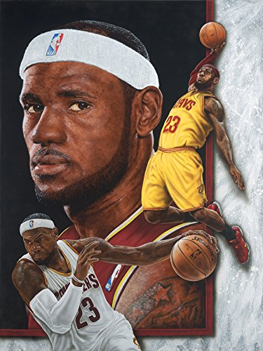 NBA Cleveland Cavaliers LeBron James Victory Fine Art Print on Paper, 19