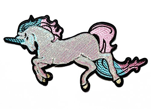 Nipitshop Patch Big Size Patch Little Horse Sequin Fantacy Horse Animal Cartoon kid DIY Embroidered Sew Iron on Patch for Clothes Costume or -