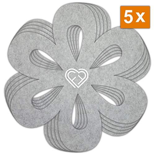 LoFelt® ❤ - 5er-Set – Stapelschutz für Pfannen, Töpfe und Schüsseln aus Filz - XL 32cm - Pfannenschutz Topfschutz - Blumenform hellgrau