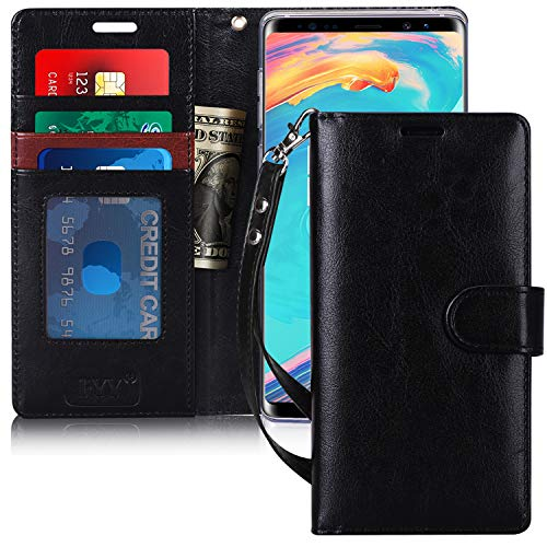 FYY Leather Wallet Case for Samsung Galaxy Note 9 2018, [Kickstand Feature] Flip Folio Case with ID Credit Card Pockets, Note Holder, and Wrist Strap for Samsung Galaxy Note 9 2018 Black
