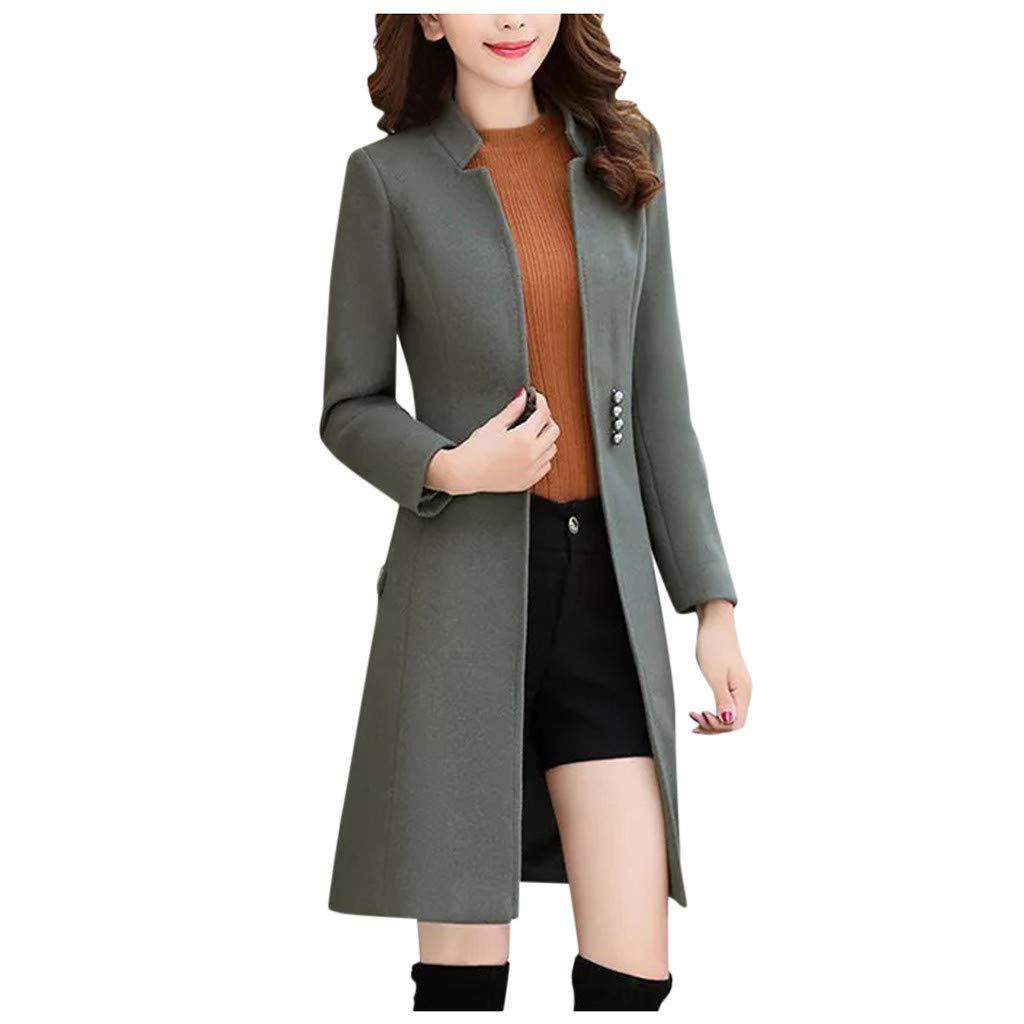 FEDULK Women's Single Breasted Coat Solid Colour Classic Open Front Autumn Winter Jacket Outwear(Gray, XXX-Large) by FEDULK