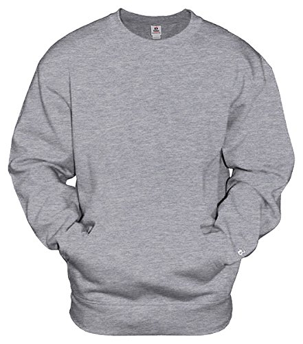 Badger Fleece Sweatshirt - Badger Mens Athletic Fleece Pocket Crew (1252) -OXFORD -XL