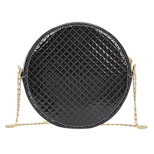 Shoulder Everpert Women Chain Crossbody Black Handbags Leather Round Bags Messenger Patent 0pqwg0S