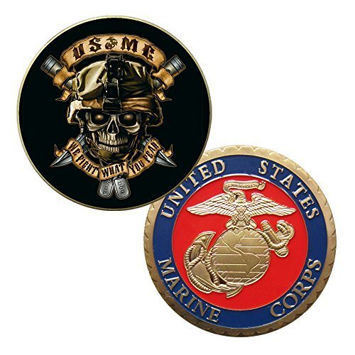 - USMC U.S Marine Corps Colorized Printed Challenge Coin