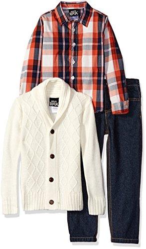 - Boys Rock Little Boys' Toddler 3 Pc Plaid Sweater Set, Ivory, 4T