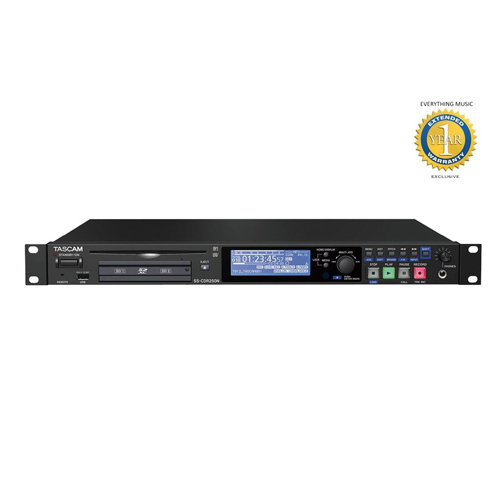 Tascam SS-CDR250N 2-Channel Networking CD and Media Recorder with 1 Year EverythingMusic Extended Warranty Free