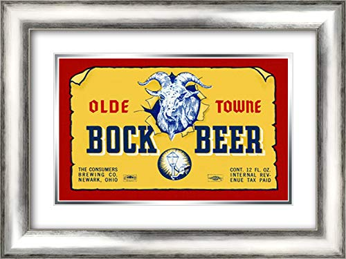Olde Towne Bock Beer 24x17 Silver Contemporary Wood Framed and Double Matted Art Print by Vintage Booze Labels