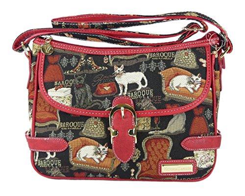 Bolso bandolera Jessica de la Victoria Tapestry (estilo gobelino) en rojo barroco