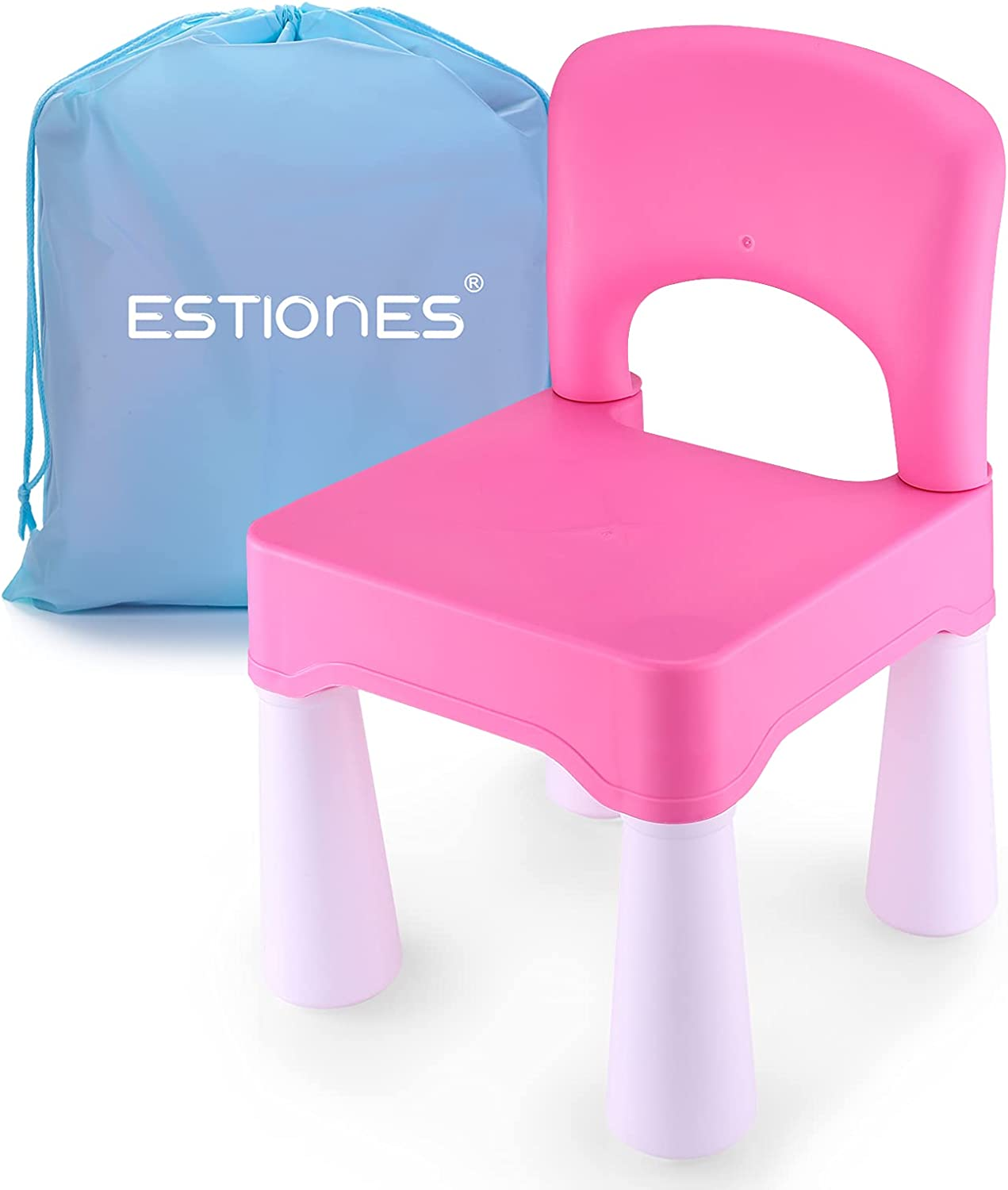 ESTIONES Kids Chair, Toddler Chair, Toddler Chairs for Boys and Girls, an Extra Portable Storage Bag, Ergonomic Design, Environmentally Friendly Durable Plastic (Barbie Pink)