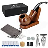 Joyoldelf Rosewood Tobacco Pipe Set with Wooden Stand, Reamer & 3-in-1 Pipe Scraper, 20 Pipe Cleaners & Pipe Filters, 2 Pipe Bits & Metal Balls, Cork Knocker, Pipe Pouch, Bonus a Gift Box