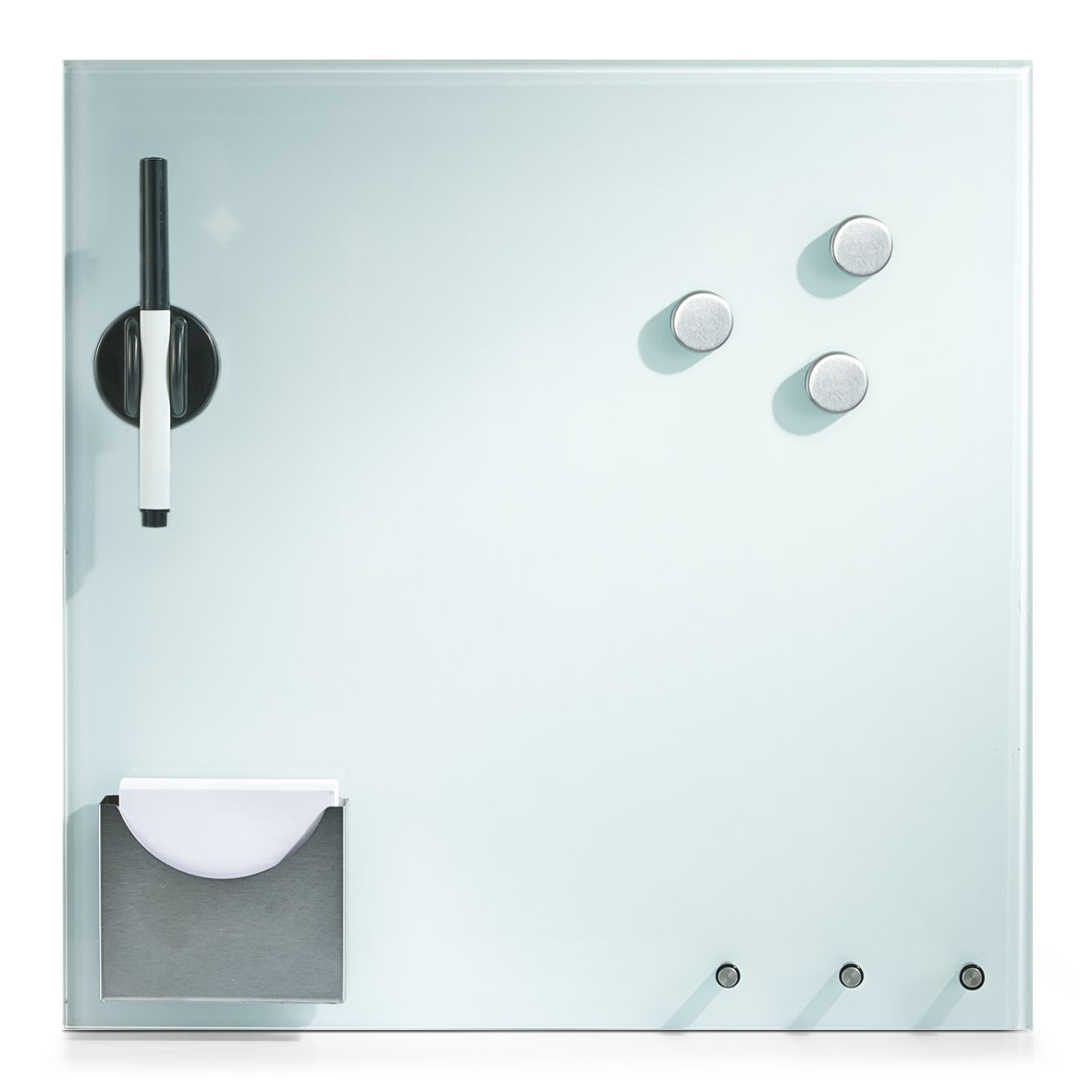 Zeller 11670 Memobord mit Haken und Zettelhalter, Glas, weiß, ca. 40 x 40 x 4 cm weiß