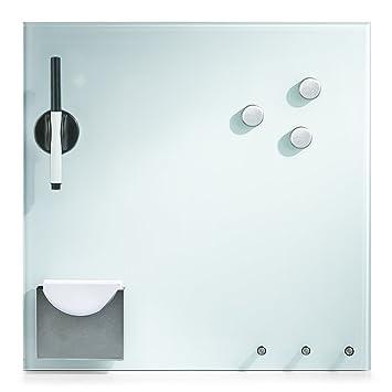zeller 11670 - lavagna magnetica in vetro, con ganci e supporto ... - Lavagne Per Cucina