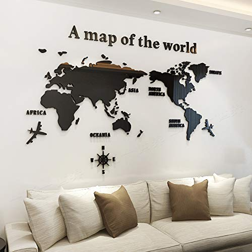 KINBEDY Acrylic 3D Wall Stickers Black World Map Wall Decal Easy to Install &Apply DIY Decor Sticker Home Art Decor. World Map. (Tv Decor Above)
