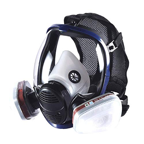 Phoenixfly99 Organic Vapor Full Face Respirator Safety Mask With Visor Protection For Paint, chemicals, polish (6800 Full face respirator+1 Pair 3# Filter)