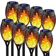 #LightningDeal Kurifier Solar Lights Outdoor, 12LED-8Pack Solar Torch Light with Flickering Flame, Security&Waterproof/Festive&Romantic Decoration Landscape Tiki Torches for Yard, Patio, Garden-Auto On/Off Lighting