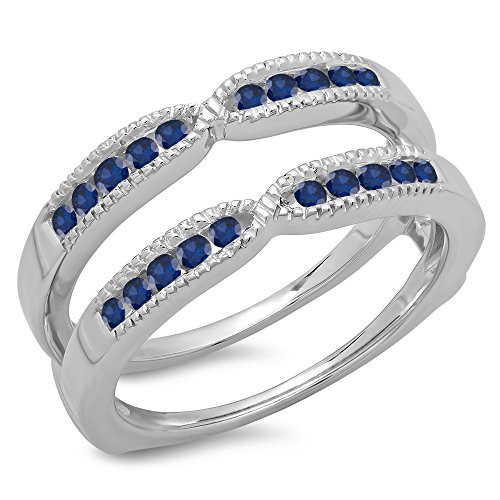 (0.35 Carat (ctw) 14K White Gold Round Blue Genuine Sapphire Millgrain Wedding Band Guard Ring 1/3 CT)